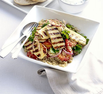 salad with grilled halloumi and quinoa salad haloumi lentil and rocket ...