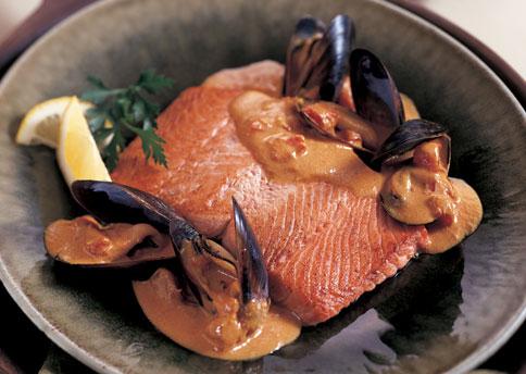 Salmon in Saffron Mussel Sauce | Karma Clinic