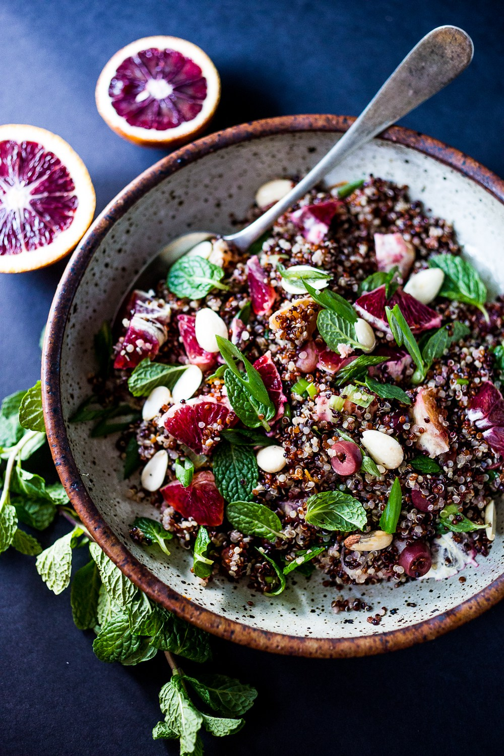 MOROCCAN QUINOA WITH BLOOD ORANGES, OLIVES, ALMONDS AND MINT | Karma ...